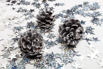 pine cones with bright spikes, bright and sparkling party decoration