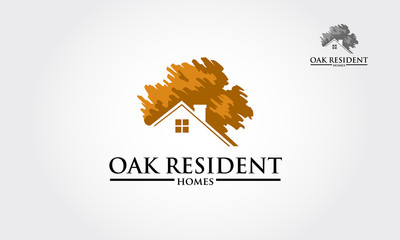 Vector logo design template of oak tree and house that made from a simple scratch. it's good for symbolize a property.