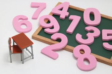数字と学習机と黒板のミニチュア 算数、数学の教育イメージ