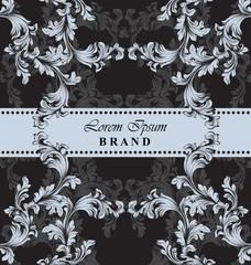 Luxury Brand card with baroque ornament decor. Vector handmade templates