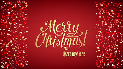 Merry Christmas and Happy New Year background with lettering and snowflakes, light, stars. Gold gradient text on red ground. For greeting and congratulation cards, banner. Vector Illustration.