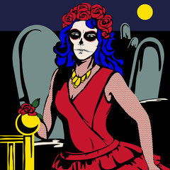 The woman in the red dress in the cemetery with makeup Santa de Muerto