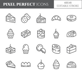 Cakes and cookies theme pixel perfect thin line icons. Set of elements of pie, brownie, biscuit, tiramisu, roll and other dessert related pictograms. 48x48 pixels. Editable stroke