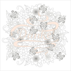 Typography banner pink Danke, means thanks in german language, swirls hand drawn lettering on grey outline flowers background stock vector illustration