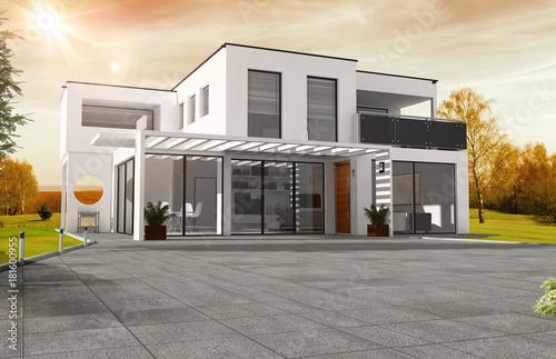 Belle Maison Moderne D Architecte A Toit Plat Photo Libre De Droits