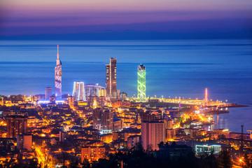 Panorama of Batumi city, Georgia, illuminated on sunset