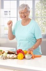 Elderly lady eating healthy