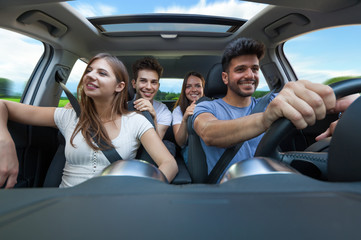 Group of friends in a car