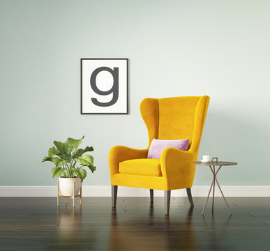 Yellow velvet wingback armchair