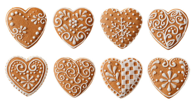 Set of christmas homemade gingerbread cookies isolated on the white background