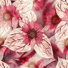 Sunflower Seamless Pattern. Watercolor Illustration.