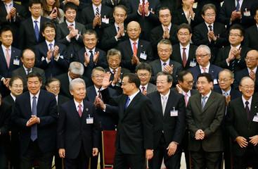China's Premier Li Keqiang meets economic representatives from Japan in Beijing