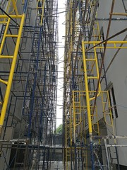 Construction of metal frame scaffolding