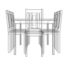 Table with chairs. Vector rendering of 3d