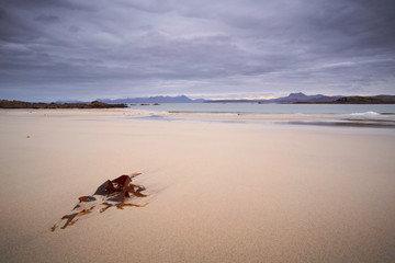Sandy beach at Mellon Udrigle looking out over Gruinard Bay and the mountains around Ullapool. North West Highlands of Scotland.