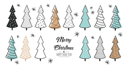 Set of hand drawn christmas tree. Decoration isolated elements. Doodles and sketches vector illustration