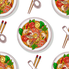 seamless background of tom yum kung