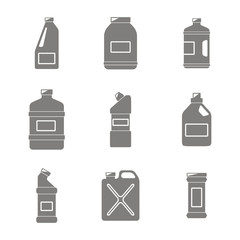icons set with bottles with cleaning chemical products  for your design