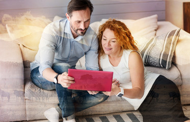 This one. Pleasant calm couple looking satisfied and interested while sitting in their comfortable room and doing online shopping