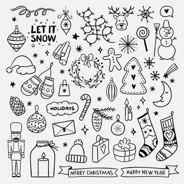 Cute hand drawn Christmas elements. New Year and Christmas doodle for greeting cards