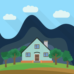Lone two-storey house in the background of a mountain with green trees. Vector illustration.