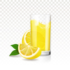 Lemonade glass with pieces of lemon. Vector realistic