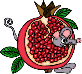 Cute mouse with pomegranate fruit