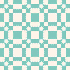 Vector geometric ornament pattern with jagged shapes. Aqua green and beige color