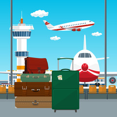 Traveler's Luggage at the Airport, View through the Window at the Runway with Airplanes and Control Tower, Travel and Tourism Concept, Vector Illustration