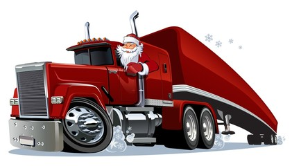 Cartoon retro Christmas truck