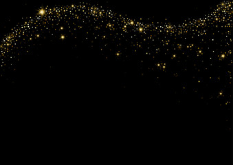 Starry Wave on Black Background - Luxury Design Element for Your Graphic Illustration, Vector