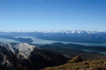 Bariloche, Argentina -  Mountain and lake with snow view