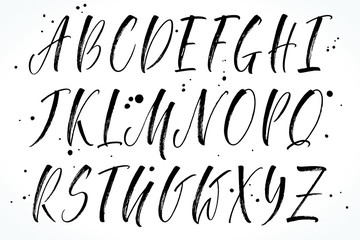 Brush handwritten vector alphabet. Modern calligraphy, uppercase letters. Vector illustration