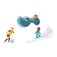 Poster Superheroes vector cartoon kids doing sports set. Boy playing football, another one swimming in water pool in goggles, girl snowboarding in winter outdoor clothing. Isolated illustration white background