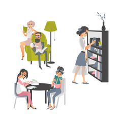 vector cartoon people reading books set. Beautiful business woman and adult man in glasses sitting at armchair near lamp, women sitting at table, girl stands near bookcase at home or library.