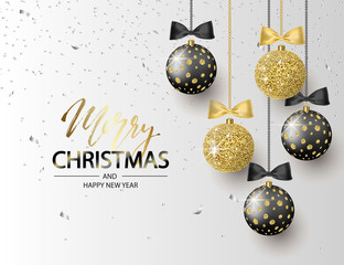 Merry Christmas and Happy New Year background for holiday greeting card, invitation, party flyer, poster, banner. Beautiful shiny tree balls and confetti. Vector illustration.