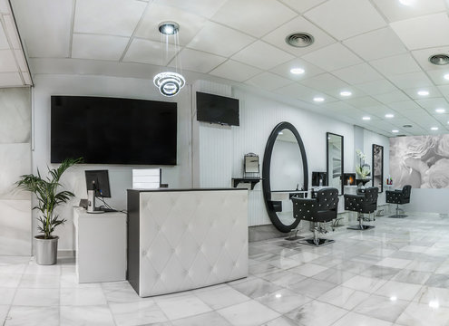 Reception in a beauty salon with desk,plant and banners. Hair salon interior.