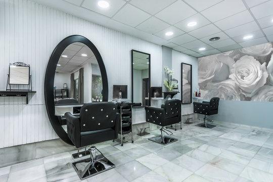Modern bright beauty salon. Hair salon interior business