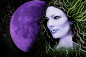 Woman alien ,Universe and moon