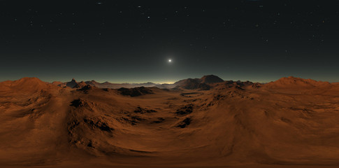 Wall Mural - Panorama of Mars sunset, environment HDRI map. Equirectangular projection, spherical panorama. Martian landscape, 3d illustration