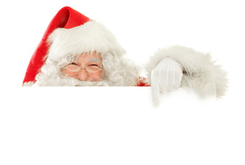 Series of Santa Claus isolated on White Cut out: Holding an empty Sign playing peekaboo, Happy Smile And Pointing Finger