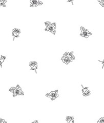 rose line flower seamless vector pattern