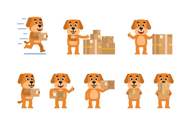 Set of funny yellow dog characters posing with parcel box in different situations. Cheerful dog holding package, running and showing other actions. Flat style vector illustration