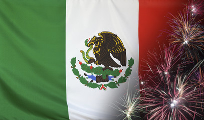 Mexico Flag Firework real fabric