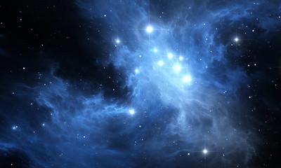 Space background. Glowing nebula with stars