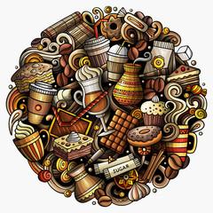 Cartoon vector doodles Coffe shop illustration