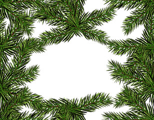 New Year Christmas. Green branch of a Christmas tree close-up on a white background. Seamless pattern. Isolated Illustration
