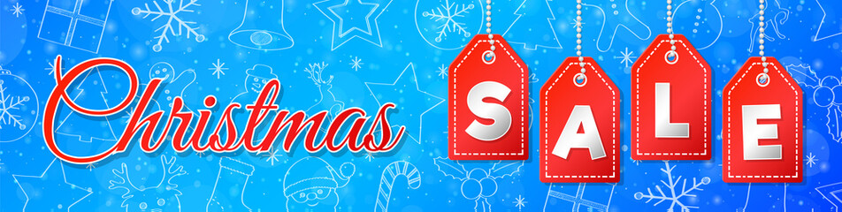 Christmas Sale - shiny poster with hand drawn decorations. Vector.