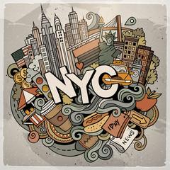Cartoon cute doodles hand drawn NYC inscription