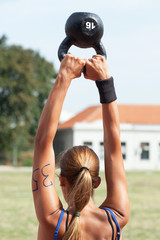 Crossfit competitor doing kettlebell swing